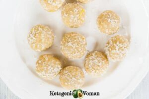 Lemon Coconut Fat Bombs on white plate