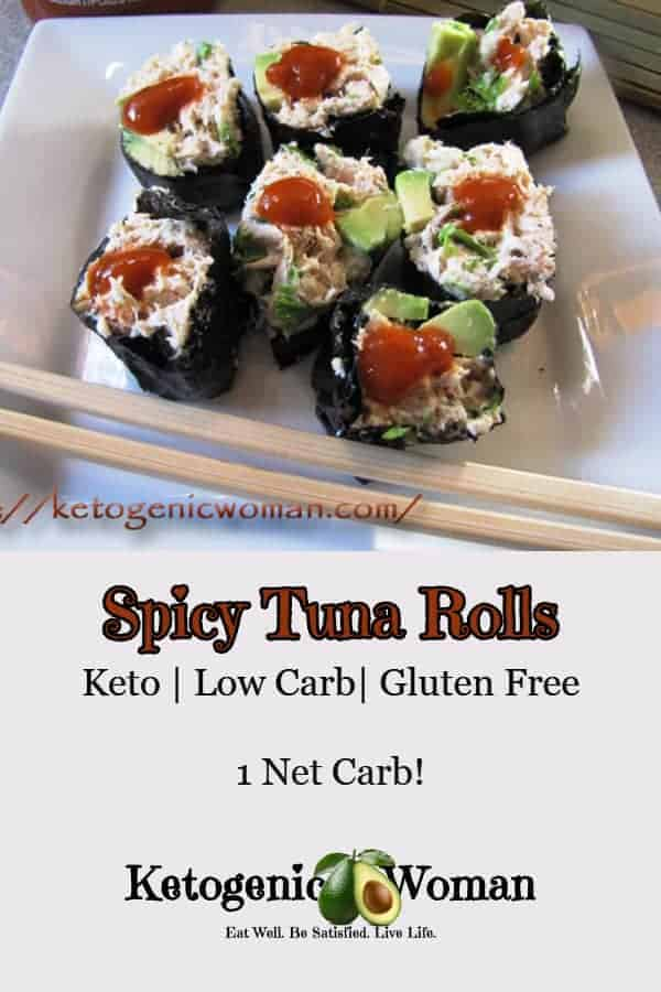 Keto Spicy Tuna Rolls. Simple keto and low carb sushi recipe!