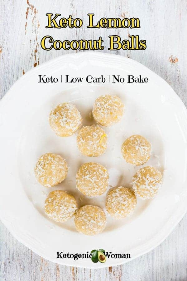 Easy Keto Low Carb Lemon Coconut Balls. No bake with only 4 ingredients. Simple cream cheese bites.