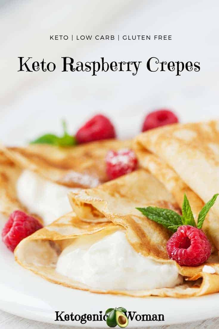Keto Low Carb Raspberry Crepes for a great brunch or weekend breaskfast