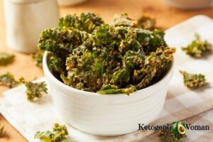 Cheesey Keto Kale Chips in white bowl