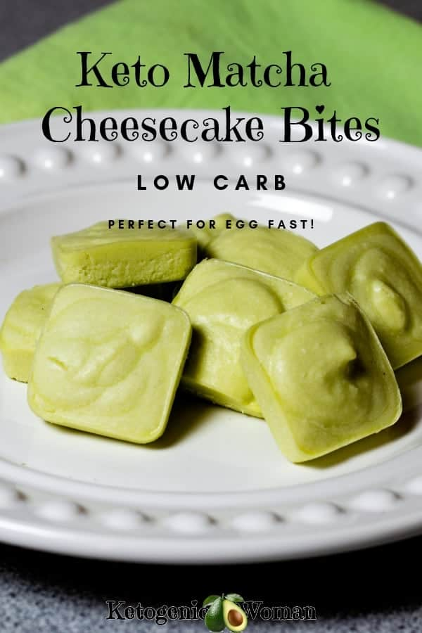 Keto Low Carb Matcha Cheesecake bites are creamy and delicious! Full of antioxidants from the matcha tea powder. Egg fast recipe!