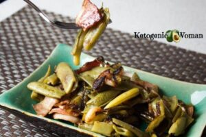 green beans and bacon on plate