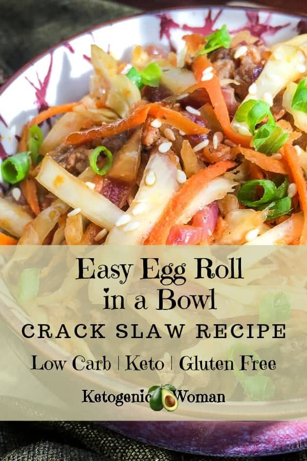 Low Carb Keto Egg Roll in a Bowl is a fast and easy crack slaw recipe. This simple gluten free chicken or pork Keto recipe is so yummy. Budget friendly one pan recipe the family will love! Try it today!