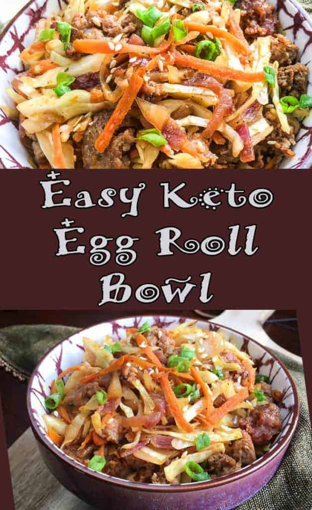 Low Carb Keto Egg Roll in a Bowl is a fast and easy crack slaw recipe. Budget friendly one pan recipe the family will love!