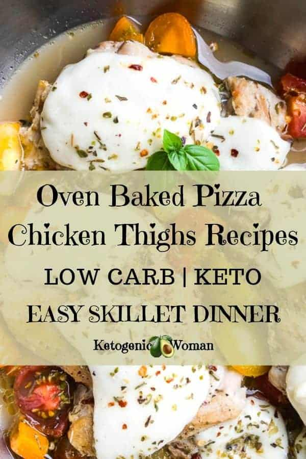 This Flavorful One Pan Keto Pizza Chicken Recipe is so delicious, your family will ask for it again and again. This low carb chicken thigh recipe is made with olive oil and is an easy oven baked skillet dinner for any night of the week. Try it today!