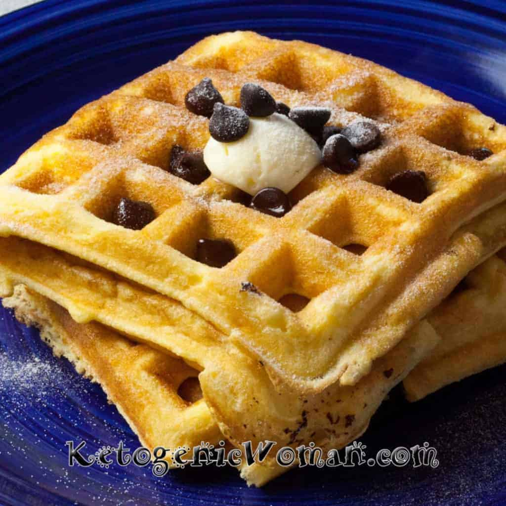 Keto Waffles with Chocolate Chips