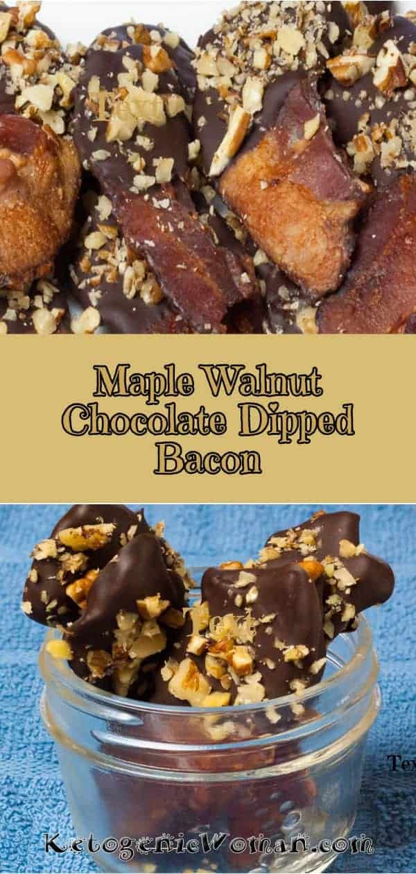 Maple Walnut Chocolate Dipped Bacon! Keto, sugar free and low carb appetizer!