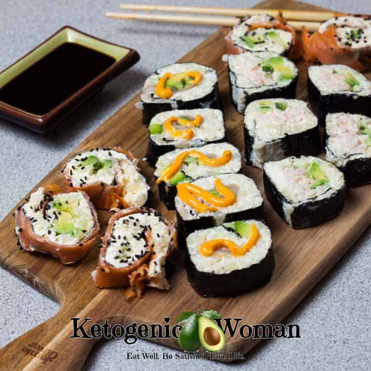 Low Carb Sushi Rolls. Keto California rolls, Low Carb BC Rolls and Low Carb Spicy Tuna Rolls