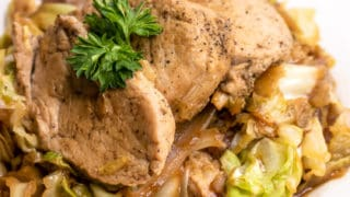 Keto One Pan Pork Tenderloin Cabbage Skillet