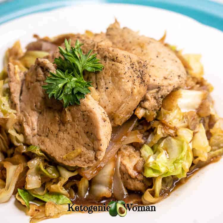 Low Carb Pork Tenderloin and Cabbage Skillet