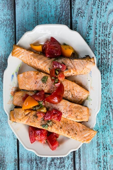 Grilled Salmon with Tomato Caper Vinaigrette