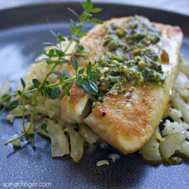 Easy Baked Red Snapper Recipe with Pistachio Pesto