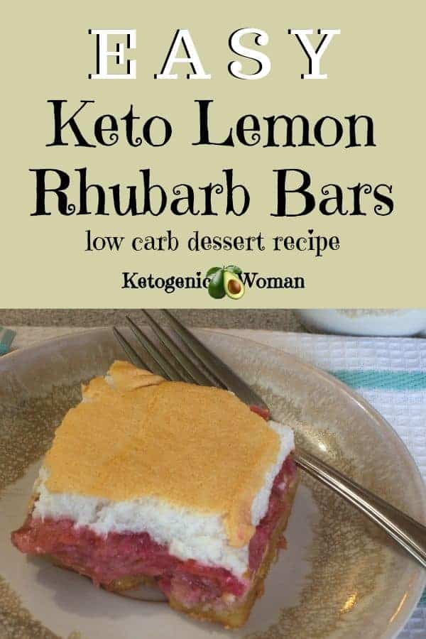Easy low carb keto rhubarb lemon bars recipe. Delicious keto desserts.