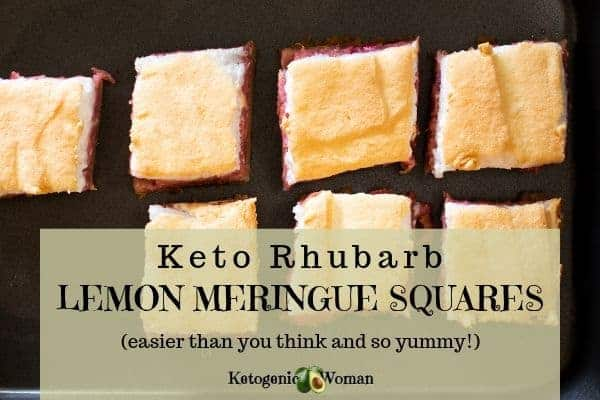Keto rhubarb lemon meringue dessert squares made with almond flour.