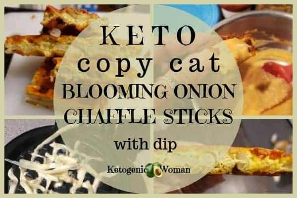 Keto copy cat blooming onion chaffle sticks with dip