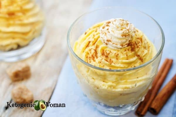 Keto Pumpkin Mousse in glass