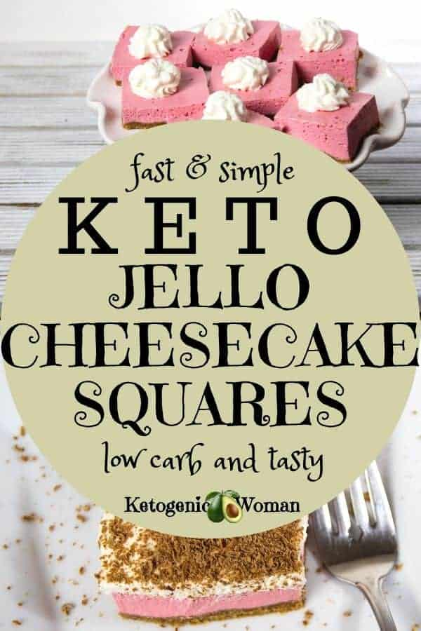 Easy keto sugar free jello cheesecake square bites