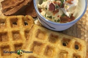 Carnivore Waffles with Savory Dip and Bacon