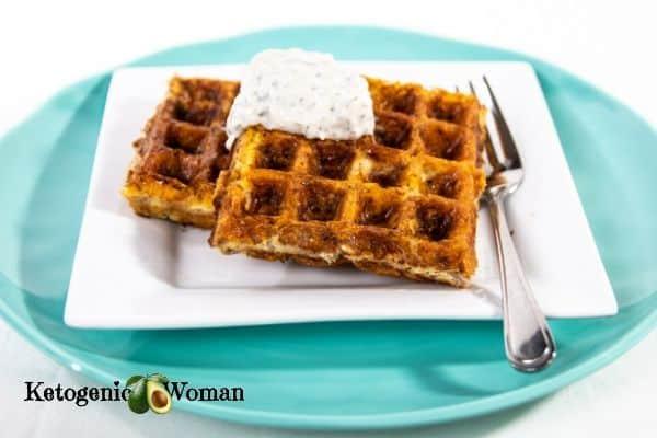 Keto tuna melt waffle on blue plate
