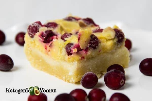 lemon cranberry bar on plate
