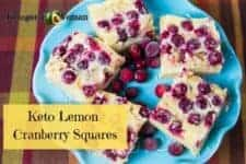 keto lemon cranberry bars on blue plate