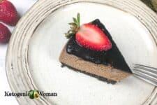 Chocolate Cheesecake slice on plate