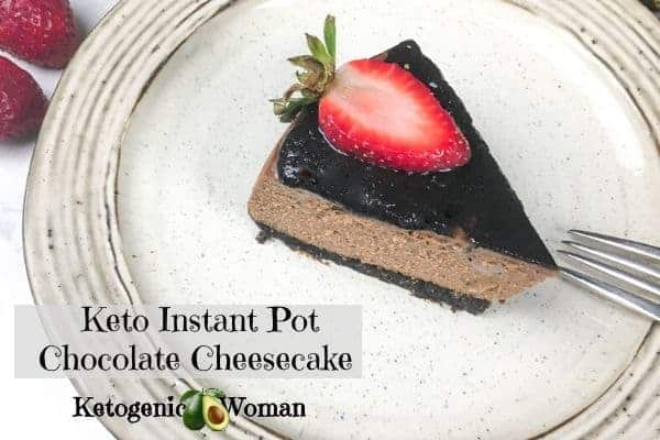 Instant Pot Chocolate Cheesecake slice garnished with Strawberry slice