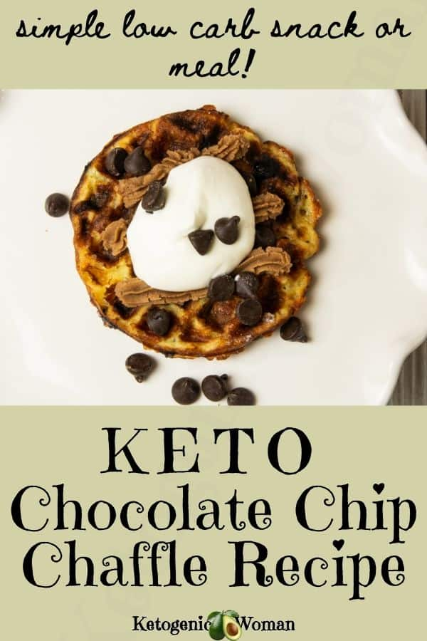 Easy Keto chocolate chip chaffle recipe - low carb and sugar free.