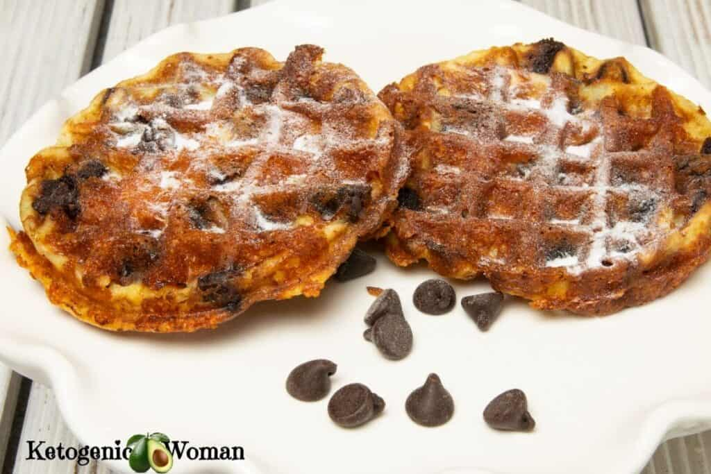 2 chocolate chip chaffles on white plate