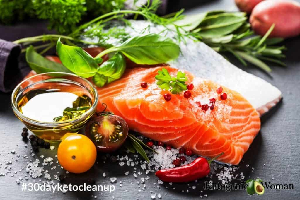 healthy salmon with fresh herbs