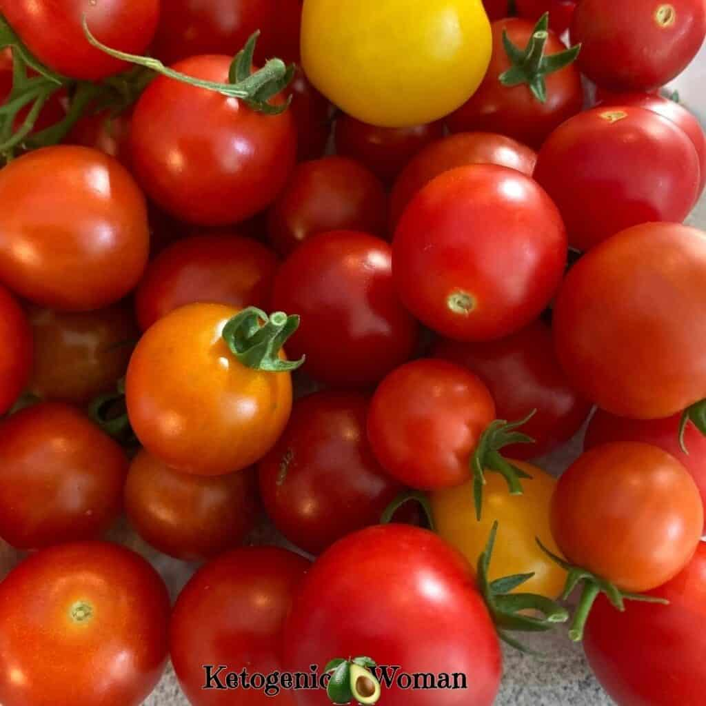 Closeup shot of red and yellow cherry tomatoes