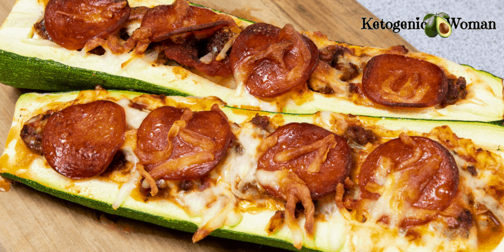 Keto zucchini pizza boats on wooden board