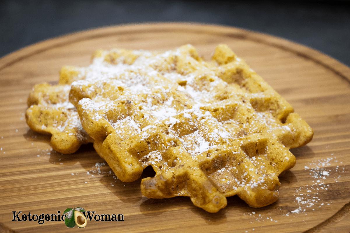 waffle on wooden board