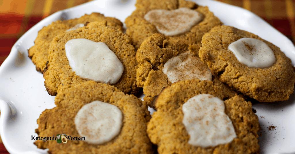Plate of Iced Keto Pumpkin Cookies