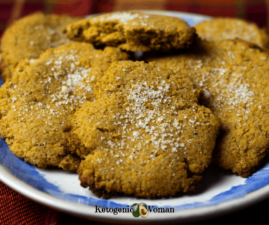 Keto Pumpkin Spice Cookies dusted with sugar on plate