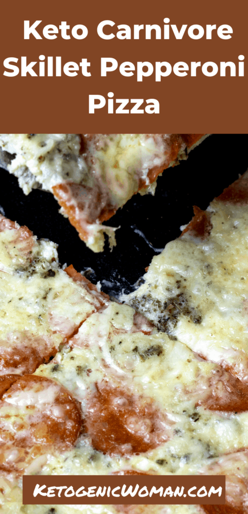 Closeup shot of carnivore pizza for Pinterest