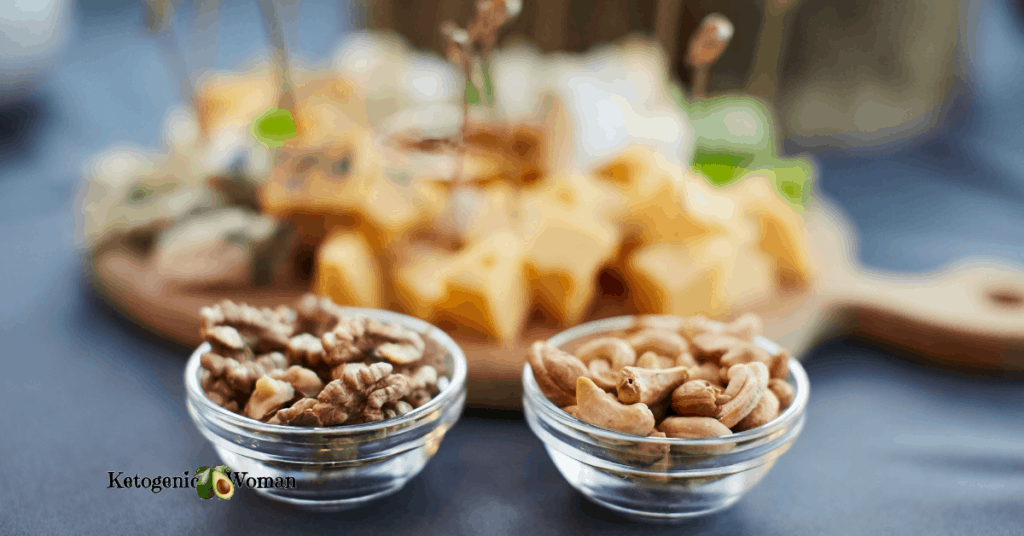 Nut bowls on buffet table