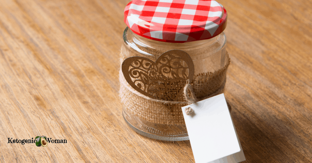 an empty jar decorated for gift giving