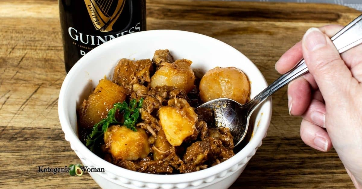 Bowl of stew with spoon