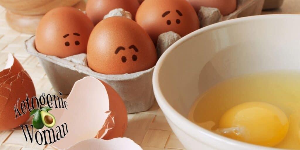 Worried eggs looking at broken egg in bowl